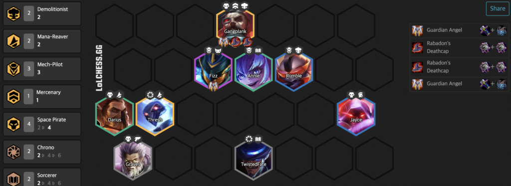 Space Pirate Teamfight Tactics Tier List